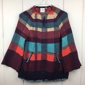 HWT Anthro Plaid Bell Sleeve Zip Front Sweater XS